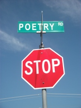 A stop sign at Poetry Road