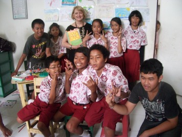 With a classroom in Bali